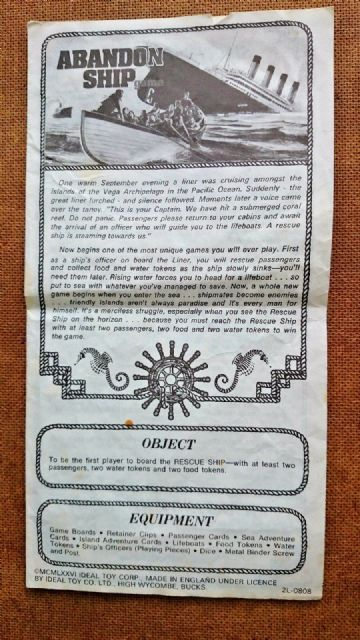 Abandon Ship / Titanic Original  Game  Instructions